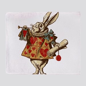 Alice White Rabbit Vintage Throw Blanket