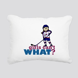 Girl Hockey Player Rectangular Canvas Pillow