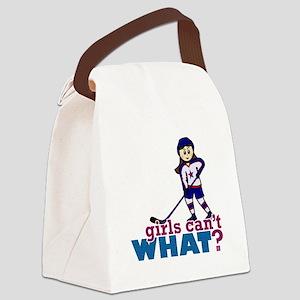 Girl Hockey Player Canvas Lunch Bag