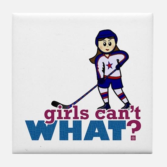 Girl Hockey Player Tile Coaster