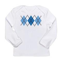 Blue Evil Argyle Long Sleeve Infant T-Shirt