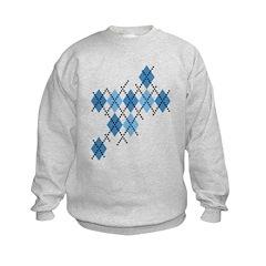 Blue Evil Argyle Kids Sweatshirt