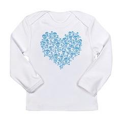 Blue Skull Heart Long Sleeve Infant T-Shirt