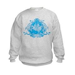 Blue Gothic Crown Kids Sweatshirt