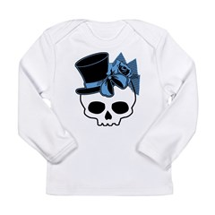 Cute Skull With Blue Bow Tophat Long Sleeve Infant