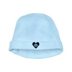 Blue Skull Crossbones Heart baby hat