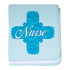 Lacy Blue Nurse Cross baby blanket