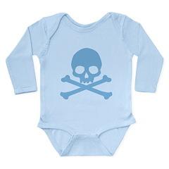 Blue Skull And Crossbones Long Sleeve Infant Bodys