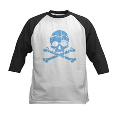 Worn Blue Skull And Crossbones Kids Baseball Jerse