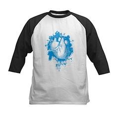 Blue Grungy Heart Kids Baseball Jersey