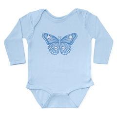 Blue Skull Butterfly Long Sleeve Infant Bodysuit