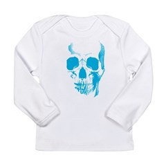 Blue Skull Face Long Sleeve Infant T-Shirt