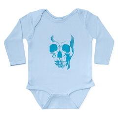 Blue Skull Face Long Sleeve Infant Bodysuit