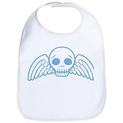 Cute Blue Skull With Wings Bib