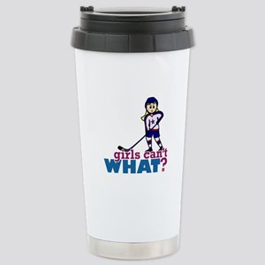 Woman Hockey Player Stainless Steel Travel Mug