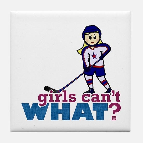 Woman Hockey Player Tile Coaster