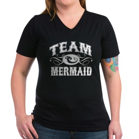 Team Mermaid Women's V-Neck Dark T-Shirt