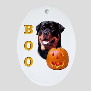 Halloween Rottie Boo Oval Ornament