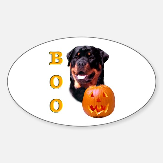 Halloween Rottie Boo Oval Decal