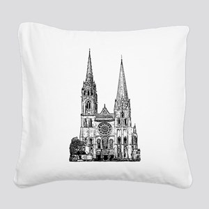 Chartres Cathedral Square Canvas Pillow