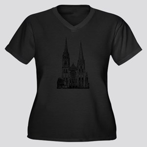 Chartres Cathedral Women's Plus Size V-Neck Dark T