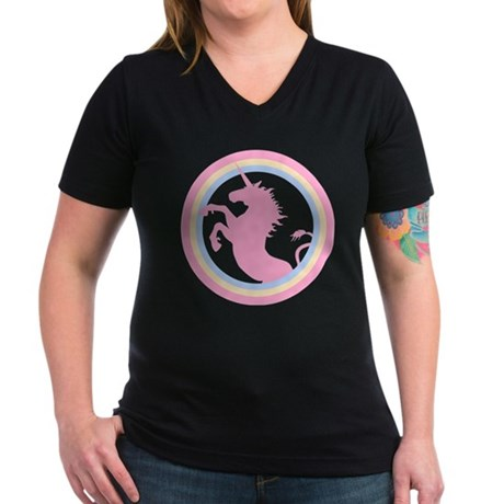Retro Pink Unicorn Women's V-Neck Dark T-Shirt