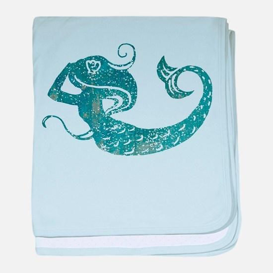 Worn Mermaid Graphic baby blanket