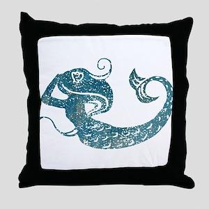 Worn Mermaid Graphic Throw Pillow