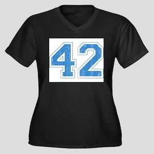 Retro Number 42 Women's Plus Size V-Neck Dark T-Sh