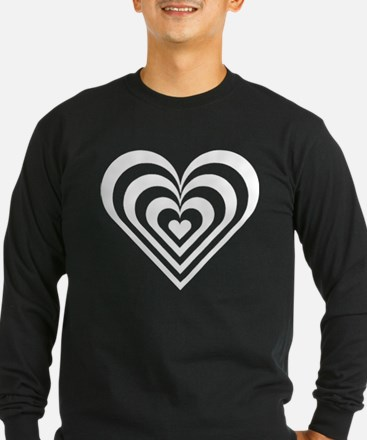 White Striped Heart Long Sleeve T-Shirt