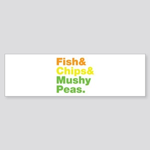 Fish and Chips and Mushy Peas. Sticker (Bumper)