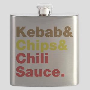 Kebab and Chips and Chili Sauce. Flask