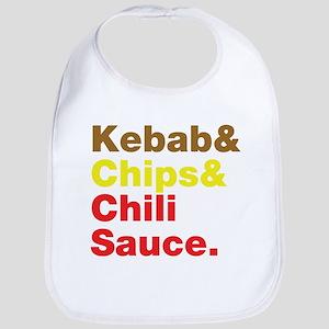 Kebab and Chips and Chili Sauce. Bib