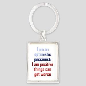 Optimistic Pessimist Portrait Keychain