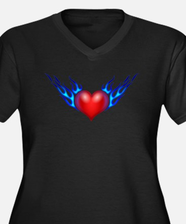 Heart With Blue Flames Plus Size T-Shirt