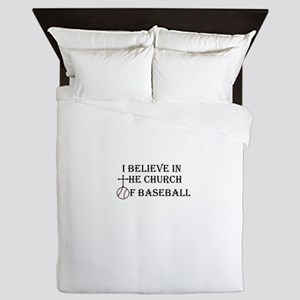 I believe in the church of baseball. Queen Duvet