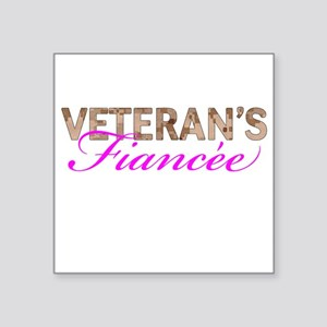 "Marine Vet's Fiancee Desert Square Sticker 3"" x 3"""