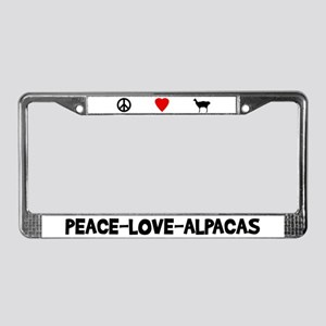 Peace-Love-Alpacas License Plate Frame