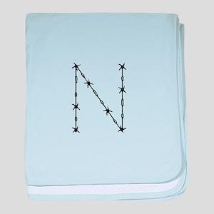 Barbed Wire Monogram N baby blanket