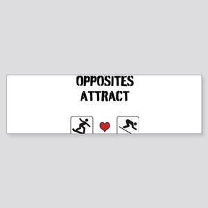 Opposites Attract ski and boarder Sticker (Bumper
