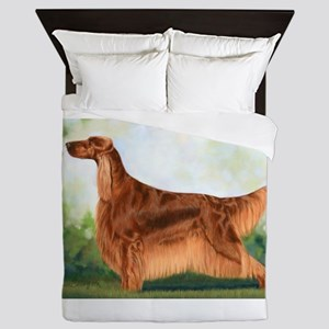 Irish Setter 3 by Dawn Secord Queen Duvet