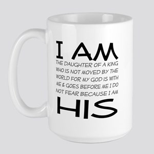 I am His block letters Large Mug