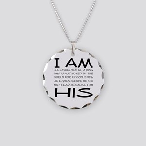 I am His block letters Necklace Circle Charm