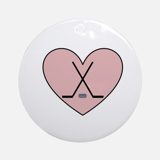 Hockey Heart Ornament (Round)