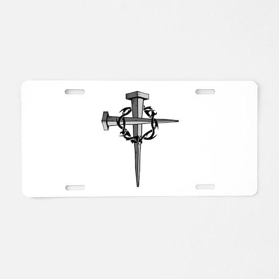 Nail Cross Aluminum License Plate