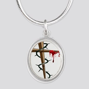 Nail Cross Silver Oval Necklace