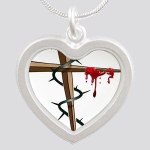 Nail Cross Silver Heart Necklace
