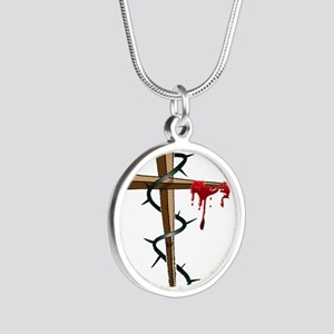 Nail Cross Silver Round Necklace