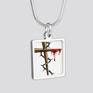 Nail Cross Silver Square Necklace