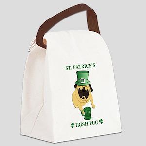 Funny St. Patricks Irish Pug Canvas Lunch Bag